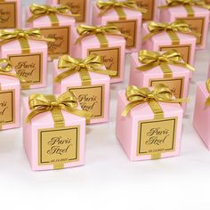 Elegant Wedding bonbonniere. Light pink & Gold wedding favor box with Gold satin ribbon bow and custom tag. Personalized boxes for guests