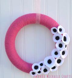 Yarn Wreath Pink Wreath Pink Yarn Wreath by AmandaMichaeleCrafts