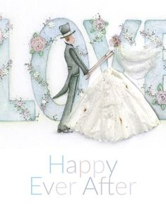 Happy Ever After Collection - Berni Parker Designs Wedding Day Wishes, Happy Anniversary Wishes, Wedding Cards, Wedding Images, Birthday Celebration Quotes, Birthday Cards, Friends Illustration, I Love My Daughter, Illustrations