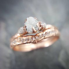 This Rose Gold Morganite Bridal Set Floral Design Wedding Ring Set Unique Morganite Bridal Set Art Nouveau Styled Engagement Rings is just one of the custom, handmade pieces you'll find in our bridal sets shops. Raw Diamond Engagement Rings, Morganite Engagement, Engagement Jewelry, Diamond Wedding Rings, Bridal Rings, Diamond Bands, Wedding Jewelry, Gold Wedding, Dream Wedding