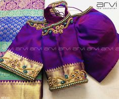 Stunning powder blue color designer blouse with dancing peacock design hand embroidery gold thread and stone work. Hand Work Blouse Design, Simple Blouse Designs, Saree Blouse Neck Designs, Bridal Blouse Designs, Latest Embroidery Designs, Kanjivaram Sarees Silk, Hand Embroidery, Embroidery Works, Embroidery Patterns