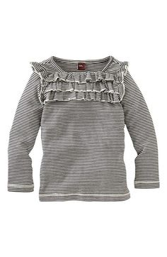 Tea Collection Ruffle Stripe Top (Toddler Girls, Little Girls & Big Girls) | Nordstrom
