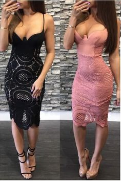 Buy Sexy Spaghetti Straps Pink Sheath V Neck Lace Tea Length Homecoming Dresses online.Shop short long ombre prom, homecoming, bridesmaid evening dresses at Couture Candy Cocktail party dresses, formal ball gowns in ombre colors. Sexy Dresses, Cute Dresses, Dress Outfits, Party Dresses, Dress Party, Bandage Dresses, Party Outfits, Party Party, Satin Dresses