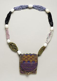 Ifa Divination Priest's Necklace with Pouch  Africa, Nigeria, Yoruba peoples