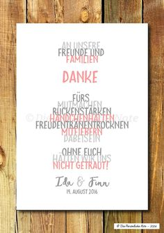 Hochzeitsdeko - Print / Print: Danke sagen - Hochzeit / Feier / Deko - A . - perfect wedding - Hochzeitsdeko - Print / Print: Danke sagen - Hochzeit / Feier / Deko - A . Wedding Party Favors, Diy Wedding, Wedding Decorations, Wedding Planning Binder, Wedding Planner, Wedding Quotes, Wedding Humor, Invitation Cards, Party Invitations