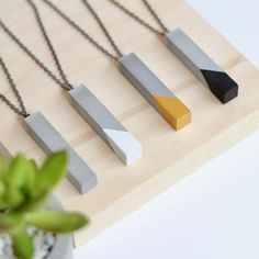 Concrete Hexagon Studs in Grey White Black or Gold Hexagon Concrete Bar, Concrete Jewelry, Bar Necklace, Pendant Necklace, Man Bars, Beautiful Necklaces, Gold, Box Chain, Flipping