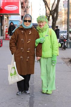 If we go to new york together, we can dress like them. Naturally, you'd be the one in head to toe green.