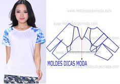 Faça a leitura da transformação do molde de blusa manga curta raglan com rigor antes de iniciar qualquer outro processo. Imprima o molde base de blusa e...