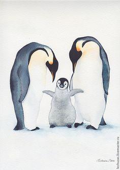 """Купить Акварель """" Пингвины """". Рис.3 - пингвины, семья, забота, любовь, птицы"""