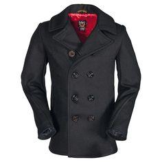Légende Homme Schott : 740c (caban double boutonnage laine) à acheter directement sur la boutique officielle Schott.