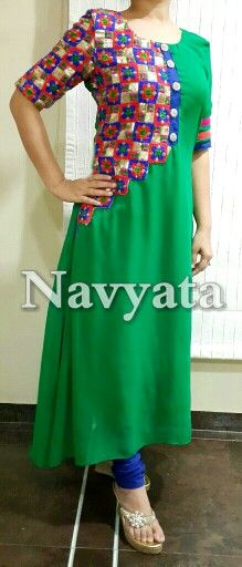 Georgette kurti with heavy embroidered patch and handwork buttons. For further details contact us on + 919892398900, + 919930413660