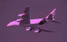 An Airbus A380 flying low during Fleet Week in San Francisco.  (3D anaglyph picture, requires red-cyan glasses for viewing.)