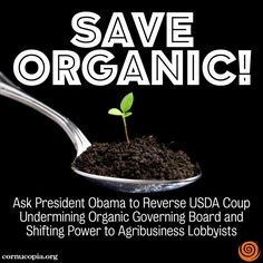 TAKE ACTION: Stop allowing corporations to add gimmicky and risky synthetic chemicals to organics. http://www.cornucopia.org/2014/07/white-house-petition-president-obama-please-reverse-usda-coup-undermining-organics #organic #chemicals The Cornucopia Institute