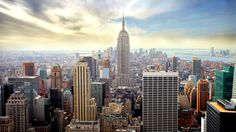 View of the Empire State Building and the Manhattan skyline.