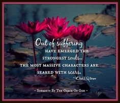 Out of suffering have emerged the strongest souls...the most massive characters are seared with scars. ~ Khalil Gibran