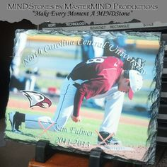 """CUSTOMIZED Rectangle Sedimentary Rock Slate (5.85"""" x 7.8"""" x .375"""") Machined sublimation coated slate with natural edging. Comes with black plastic """"feet"""". Slate can vary in size by up to -0.4"""". Makes great gifts and awards for Athletic Departments! Custom High Resolution Photo Awards"""
