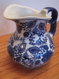 Vintage Blue and White Pitcher by mimiyaya on Etsy, $12.00
