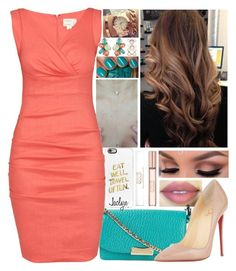 """{Coral & Teal//Jaclyn}"" by leadingladyx17 on Polyvore featuring Burberry, Christian Louboutin, Casetify, Michael Kors, Nicole Miller, Oscar de la Renta and Accessorize"