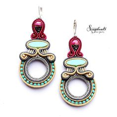 Large soutache earrings with jasper stones and sterling silver