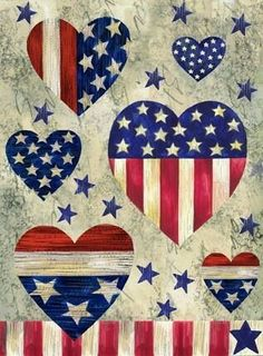 red white and blue hearts Fourth Of July Decor, July 4th, 4th Of July Wallpaper, American Flag Art, Patriotic Pictures, Flag Painting, Patriotic Decorations, Wallpaper Backgrounds, Wallpapers