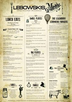 A3 menu designed for Glasgow bar Lebowskis    Graphics: @Karen - The Graphics Fairy    #vintage #food #design