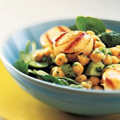 Heart Healthy Recipes for 2013—Grilled Scallops With Lemon-Chickpea Salad. Scallops are a great source of vitamin B12 and omega-3 fatty acids. And the combination of vitamin C and A in the spinach prevents cholesterol from building up in blood vessels.