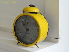 A clock, and it's yellow.