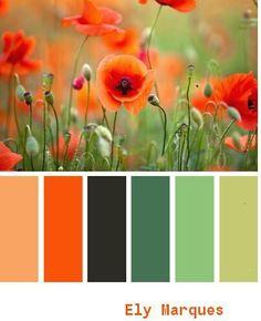 Paleta de colores, desde el naranja intenso al verde oscuro, excelentes para ambientes alegres, tropicales, calor de hogar. Es solo atreverse y usarlos con armonia y siempre buscando la excelencia en lo que se hace.