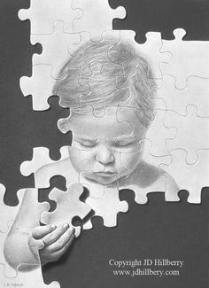 Putting it Together by *JD-Hillberry # Traditional Art / Drawings / Surreal Pencil Art, Pencil Drawings, Art Drawings, Drawing Sketches, Autism Tattoos, Family Theme, Black And White Drawing, Gcse Art, Realistic Drawings