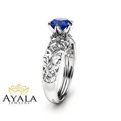 Unique Royal Blue Sapphire Engagement Ring 14K by AyalaDiamonds