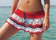 Crochet beach skirt PATTERN PDF crochet cover up by katrinshine Motif Bikini Crochet, Débardeurs Au Crochet, Crochet Bikini Pattern, Crochet Cover Up, Baby Afghan Crochet, Crochet Bodycon Dresses, Black Crochet Dress, Crochet Skirts, Crochet Clothes