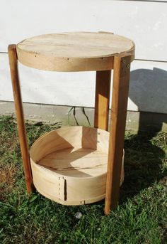 Up-Cycled Vintage CHEESE BOX TABLE End Table Side Table Re-Purposed 2 Tier Wooden Wedding Serving Tray Wine