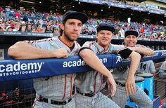 Madison Baumgarner #40, Matt Cain #18, and Tim Hudson #17 of the San Francisco Giants pose for a photograph before the game against the Atlanta Braves at Turner Field on May 3, 2014 in Atlanta, Georgia. (Photo by Scott Cunningham/Getty Images)