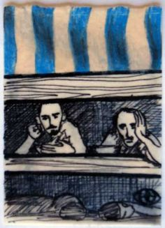 Holocaust 6, 2011, by Robin Jamison Hernandez Sharpie, colored pencil, beeswax ATC created for invitational swap