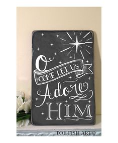 O Come Let Us Adore Him Christmas Chalkboard Word Art Sign Deocr Distressed on Wood on Etsy, $89.00