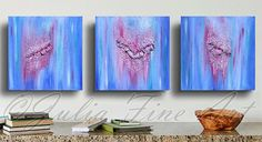 Blue Triptych Painting, Abstract Painting, Blue Art, Purple, Turquoise Painting, Blue Home Decor, Abstract Wall Art, Large Blue Triptych