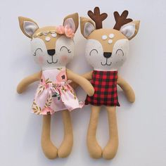 This deer doll is made with love! He is about 15 inches tall and made from high quality cotton fabrics and wool blend felt details. His face is hand embroidered. Matching girl deer available separately. Contact me if you would like to customize your own doll! PLEASE NOTE ❤