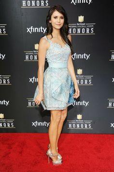 Ultra feminine blue pastel dress on Nina Dobrev