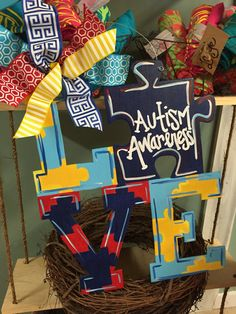 Autism Awareness Puzzle Piece Door Hanger Front Door Decor