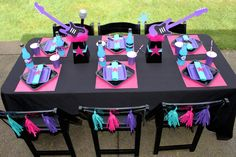 rockstar table setting girls rock star birthday party