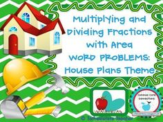 Students must multiply and divide fractions and whole numbers in these area word problems. My themed task cards utilize real-world, relevant connections to allow students to connect with math concepts while having fun solving problems.    After completing the task cards, students work with the dimensions of each room to label the house plans.  -24 multi-step problems, 4 extension problems  Common Core aligned 5th