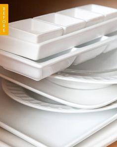 Before & After: How I Solved My Servingware Pile Problem — Erika's Kitchen Organization Project | Kitchn