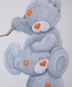 Me to You beertjes muurschildering met harige vacht.  bears mural painting nursery