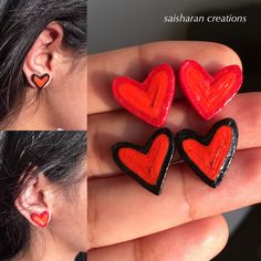Quilling Hearts studs