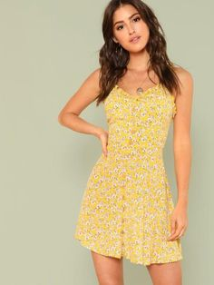 ea2412a1 Fit & Flared Floral Cami Dress -SheIn(Sheinside) Vestido Tumblr, Vacation  Dresses