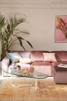 Modular Velvet Sofa Urban Outfitters Home Collection Boho Living Room, Home And Living, Living Room Decor, Bedroom Decor, Pastel Living Room, Bohemian Living, Pink Living Room Furniture, Small Living, Modern Living