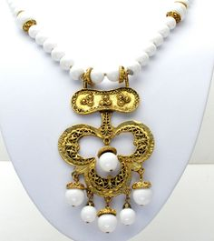 """White Bead Gold Statement Necklace Vintage Lucite Large Pendant 26"""" Long  #Unbranded #Bead"""