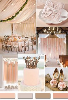 blush pink inspired chic rustic wedding color ideas and laser cut wedding invitations