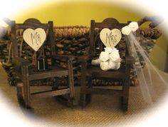 Rustic Wedding Rocking Chair Cake Topper By AvalonsBrowsery