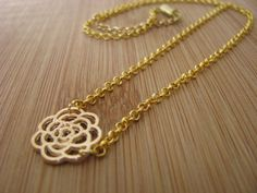 Rose Gold Metal Full Flower Necklace - pinned by pin4etsy.com